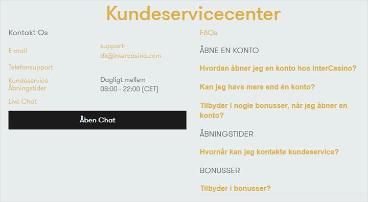 InterCasino kundeservice